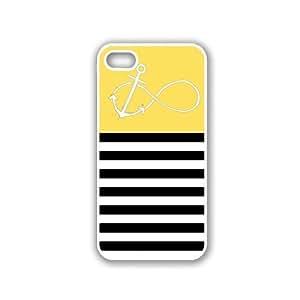 Anchored-Forever Black Stripes & Lemon Yellow White iPhone 5 Case - For iPhone 5/5G - Designer PC Case
