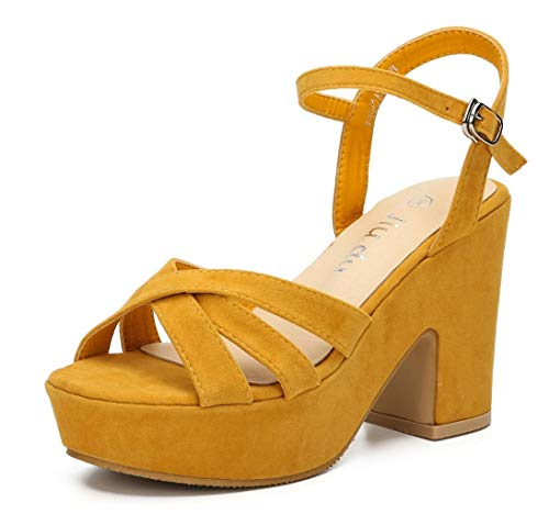 Womens Open Toe Ankle Strap Wedge Sandal Chunky Block High Heel Platform Sandals Yellow Velveteen Size US8 EU39 (Yellow High Heel Platform)