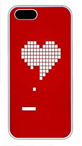 iPhone 5 5S Case 8 Bit Heart Valentines Day3 PC Custom iPhone 5 5S Case Cover White