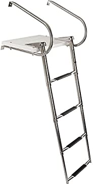 Rage Powersports 4-Step Telescoping Boat Ladder with Swim Platform & Handr