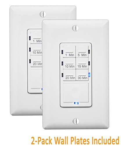 Bathroom Fan Timer Switch - In Wall Timer Switch Enerlites, Fan Switch Timer, Countdown Timer Switch, Light Timer Switch, Bathroom Timer Switch, 1 - 30 min, Night Light LED Indicator, Neutral Wire Required HET06A ,White, 2-Pack