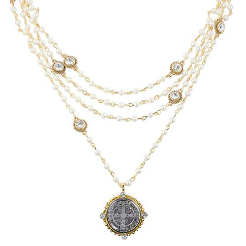 VSA San Benito Magdalena Necklace in Gold with Pearl, Diamond Crystals