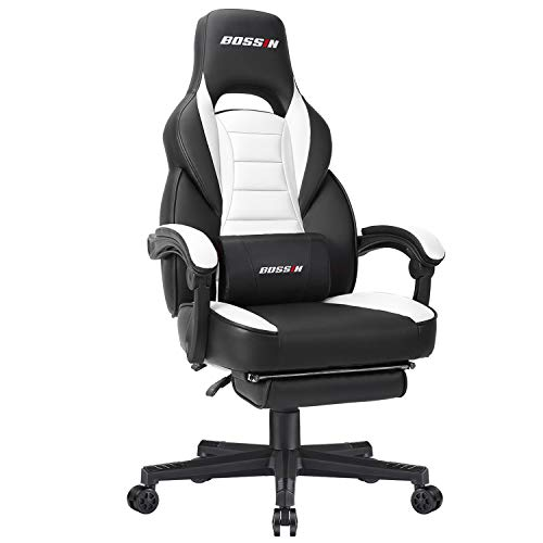 BOSSIN Racing Style Gaming Chair Office Computer Desk Chair with Footrest and Headrest