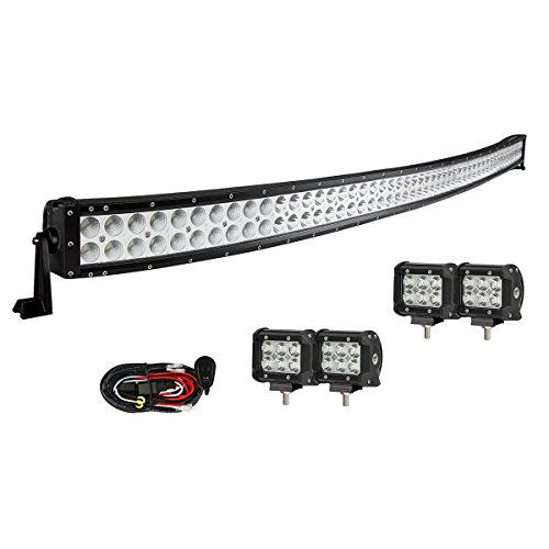 Enk 52 Inch Curved LED Light Bar 300W with 4 Pcs of 4 Inch Pods and Wiring Harness Offroad SUV Truck 4WD