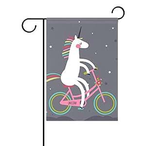 bennigiry Cute Unicorn en una bicicleta arco iris decorativo Welcome Colorful Mulitcolor, diseño bandera de Jardín, multicolor, 12x18(in)