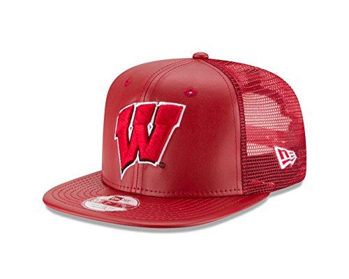NCAA Wisconsin Badgers Men's Team Sleek Trucker 9FIFTY Snapback Cap, Red, One (New Era Cap Leather Cap)