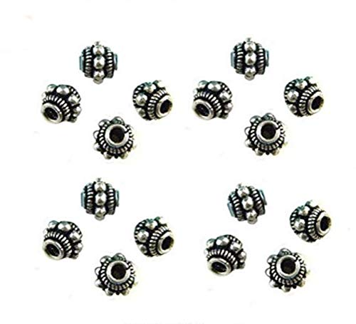 20 Pcs 8x10mm Bali Style Metal Dotted Antique Silver Spacer Beads for Jewelry Making TVT-X010