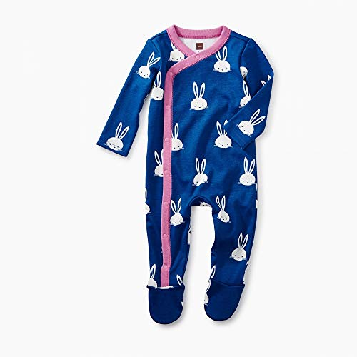 d Romper, Bunnies, Blue Background with Pink Trim and White Bunnies (0-3 Months) ()