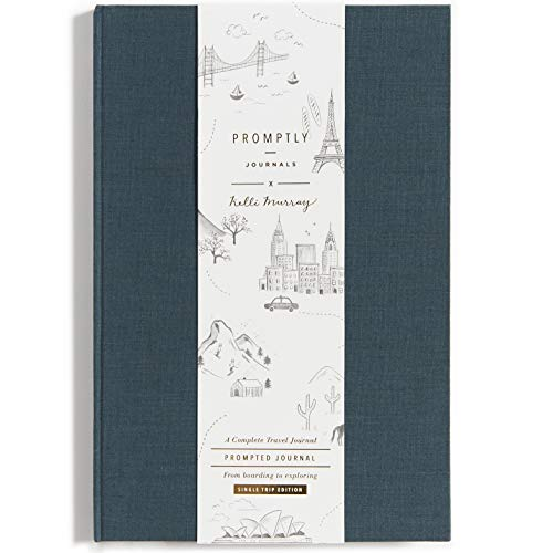 Promptly Journals - Compact Travel Journal, Elegant Minimalist Design, Linen Wrapped, Prompts to Track Your Travels, Keepsakes, Photos (Deep Blue)