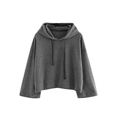 Cheap MakeMeChic Women's Long Sleeve Pullover Sweatshirt Letter Print Crop Top Hoodies