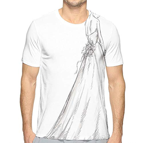 3D Printed T Shirts,Fairytale Ending of A Love Story Princess Sketchy Bride with Flowers Image