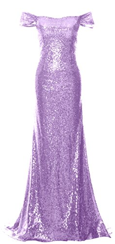MACloth Women Off the Shoulder Prom Dress Mermaid Sequin Formal Evening Gown Lavanda