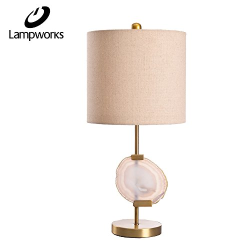 Downlight Fabric Shade (Lampworks Modern Style Metal Table Lamp Downlight Push Button Switch with Agate and Fabric Lampshade Antique Brass Finish Desk Lamp For Bedroom Reading Room)