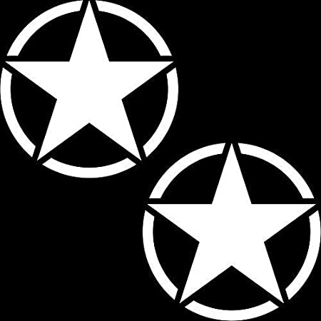 Greenit 2 Stück Us Sterne 10cm Matt Weiß Usa Army Mp Auto Jeep Tuning Aufkleber Tattoo Die Cut Deko Folie Auto