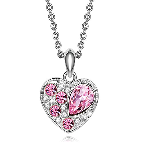 Qianse *Princess Peach* Heart Shape Pendant Necklace with Austrian Preciosa Crystal, Women Jewelry Qianse