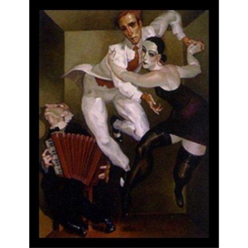 Buyartforless Framed Tango in a Box by Juarez Machado 19x25 Art Print Poster Abstract Figurative Painting Man Woman Dancing Tango in Small Room