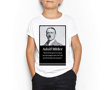 Adolf Hitler White Round Neck T-Shirt For Kids 6-7 Years