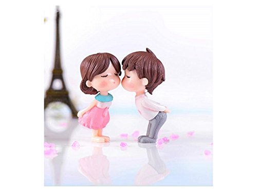 Junson Cute Micro Landscape Ornament Terrarium Miniature Fairy Garden Dollhouse Kiss Couples Wedding Party Decorations (Colorful) for Decoration