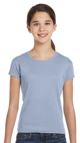 Bella + Canvas Girl'S Baby Rib Short Sleeve Tee (Baby Blue) (L)