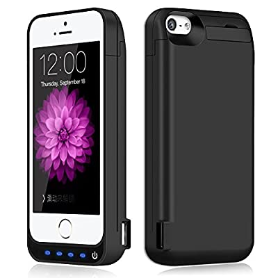iPhone 5 / 5S / 5C / SE Battery Case,TQTHL Update [4800mAh] External Battery Backup Protective Charger Case for iPhone 5 / 5S / 5C / SE ( Built-in USB Output Power Bank ) from TQTHL