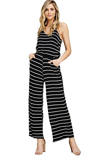 Striped Tank Bodice (Annabelle Women's V-Neckline Sleeveless Tank Top Striped Print Flared Leg Elastic Waist Jumpsuit with Side Slant Pockets Black-Ivory Small J8078)