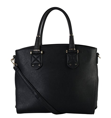 rimen-co-womens-synthetic-leather-top-zipper-closure-tote-handbag-gs-3223-black