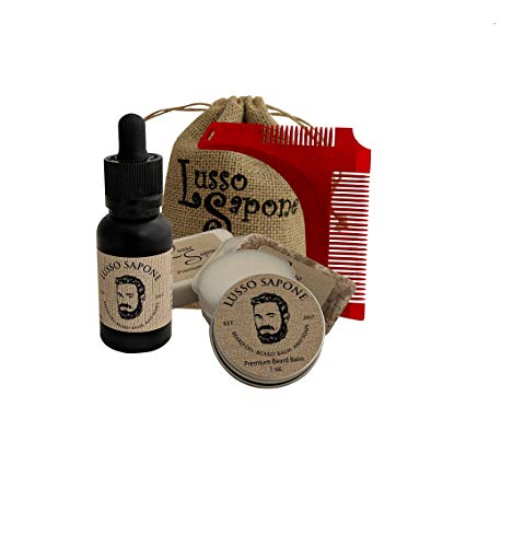 Beard Care Kit. Includes: Beard Oil, Beard Balm, Soap and Beard Shaping Comb by Lusso Sapone