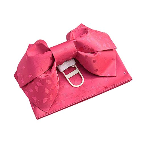 Traditional Kimono OBI Belt Pre-Tied Bow Floral Pattern Cho-Cho Japanese DIY Belt Sash Tsukuri OBI Yukata Cosplay Accessories (Fuschia)