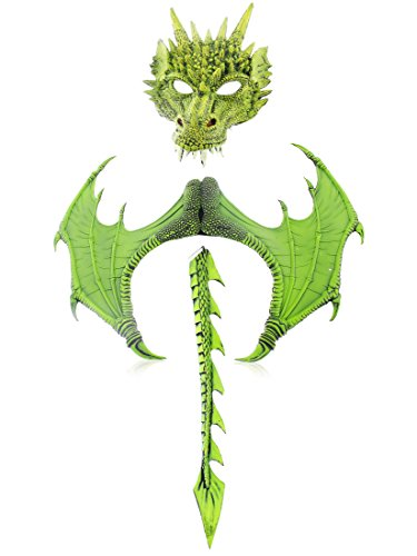 3-Piece Halloween Dragon Costume for Adults - Mask, Wings, Tail, Green, One Size
