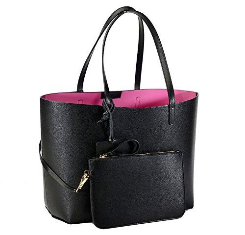 REBELLE FTC Shopper Monica Noir / Fuchsia en cuir made in Italy