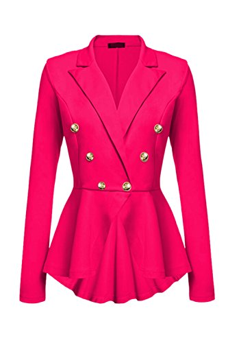 Peplum Casual Trabajo YACUN Jacket Coat Fit Blazer Crop Mujeres Tops Slim Rosa qOHwWvaH