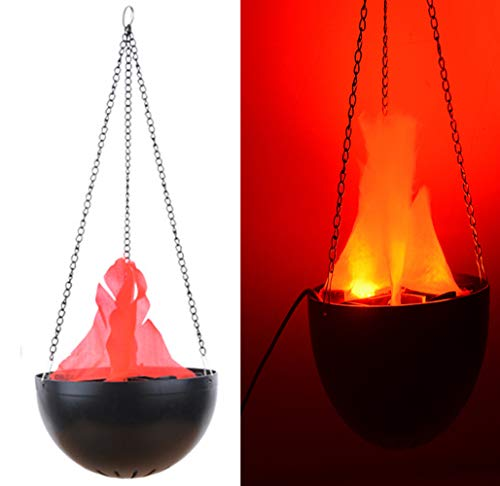 TOPCHANCES Electric LED Flamsee 3D Fake Fire Lamp Eeffect Torch Light for Halloween Xmas Party Decor Holiday Supplies (20cm Hanging Lamp) (Cauldron Fire Fake)