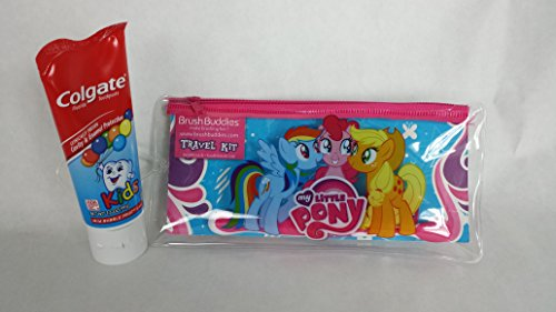 My Little Pony Toothbrush, Travel Pouch, Toothbrush Cap Plus Mild Bubble Fruit flavored Cavity & Enamel Protection Colgate 3.5 oz Fluoride Toothpaste Bundle