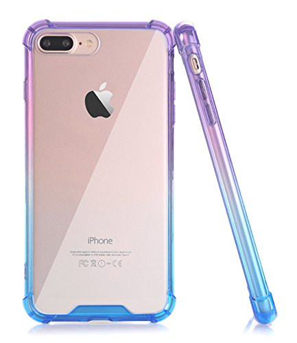 Baisrke Iphone 7 Plus Case  Slim Blue Purple Gradient Shock Absorption Protective Cases Soft Tpu Bumper   Hard Plastic Back Cover For Iphone 7 Plus Iphone 8 Plus