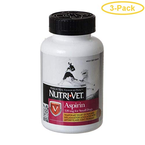- Nutri-Vet Aspirin for Dogs Small Dogs Under 50 lbs - 100 Count (120 mg) - Pack of 3