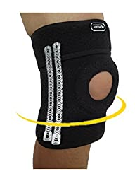 Tornadu Neoprene Knee Brace with CROSS STRAP,Open Patella Protector Wrap, Ideal For Arthritis, ACL, Meniscus,Running, Basketball