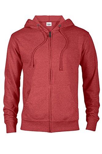 Red Full Zip Hoodie - Casual Garb Hoodies for Men Heather French Terry Full Zip Hoodie Hooded Sweatshirt Red Heather Small