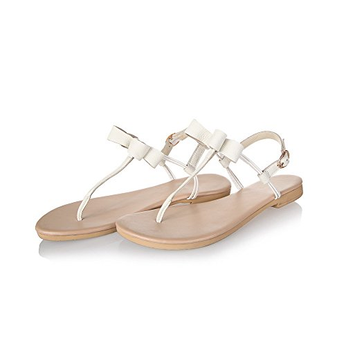 Amoonyfashion Womens Zacht Materiaal Gesp Split Teen Lage Hakken Effen Flip-flop-sandalen Beige