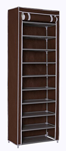 Homebi 10-Tier Shoe Rack 30 Pairs Shoe Tower Closet Shoes Storage Cabinet Portable Boot Organizer with Dustproof Non-Woven Fabric Cover and 10 Durable Shelves in Brown,24.2 W x 12.4 D x 68.3 H