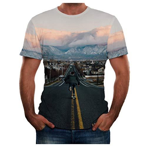 TOPUNDER Men Summer New Full 3D Printed T Shirt Plus Size S-3XL Cool Printing Top -