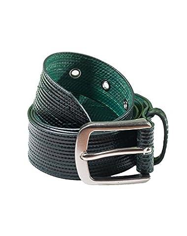 Landill Dzine Recycled Irrigation Tube Vegan Unisex Green Black Belt Size Large - Eyelet Belt