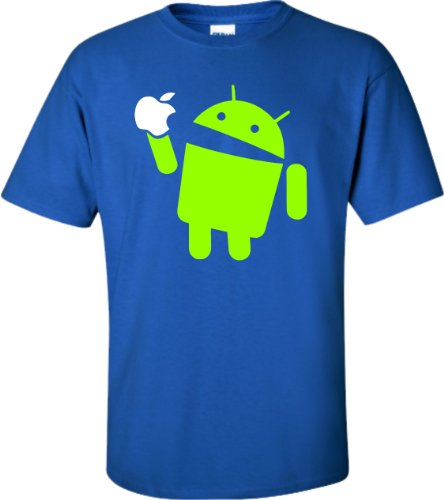 X-Large Royal Blue Adult Android Eats Apple Funny T-Shirt
