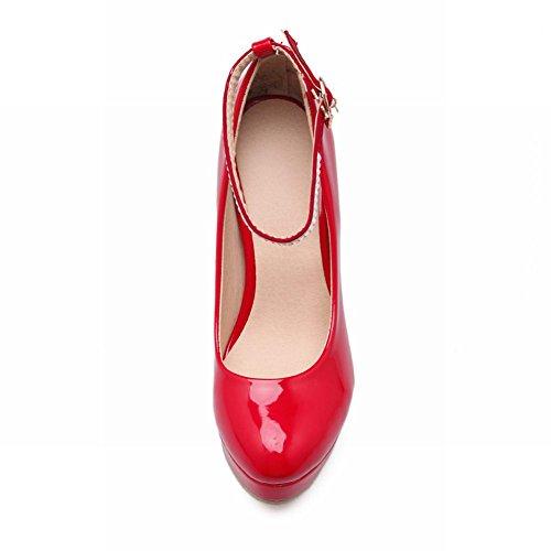 Latasa Femmes Élégant Cheville-sangle Talon Haut Robe Plate-forme Pompes Rouge