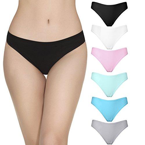 La Volupte 6 Pack Women's Underwear Breathable Cotton Thong Panties (Medium, Color-1)