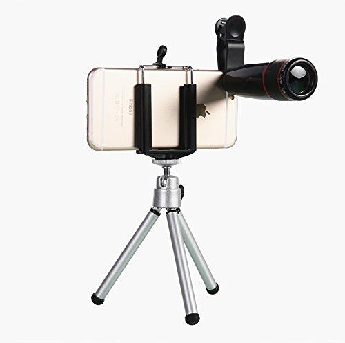 WONBSDOM Universal 12X Zoom Clip-On Aluminum Telephoto Manual Focus Telescope Camera Lens Phone Lens (Black) with Tripod + (Telephoto Lens Iphone 5c)