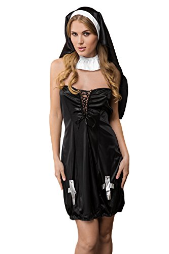 [Adult Women Sexy Nun Halloween Costume Catholic Holy Sister Dress Up & Role Play (One size fits most, black and] (Sexy Halloween Dress Up)