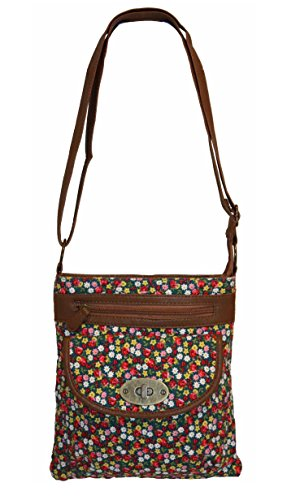 EyeCatchBags - Florida Floral Cross Body Canvas Shoulder Bag Mini Flowers Brown