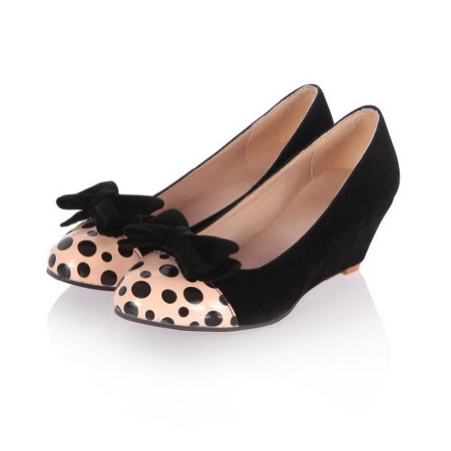AmoonyFashion Womans Closed Round Toe Kitten Heel Wedges PU Frosted Polka Dots Pumps with Bows Black 7x7NK