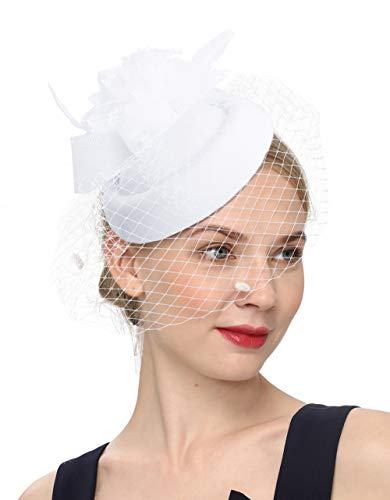 Cizoe Fascinator Hair Clip Pillbox Hat Bowler Feather Flower Veil Wedding Party Hat Tea Hat(1-white) - Lace Pill Box Hat