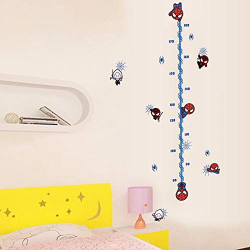 (Cartoon Spiderman Height Measure Wall Sticker for Kids Rooms Children's Growth Chart Wall Decals Boy's Gift Home Decor Mural)